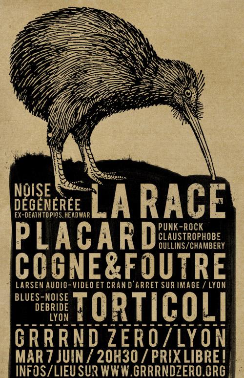 MAR 7 JUIN // LA RACE + COGNE&FOUTRE + PLACARD @ LYON LARACE_web
